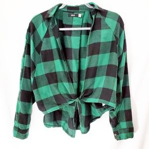 URBAN OUTFITTERS BDG 90s Flannel Tie Front Top EUC